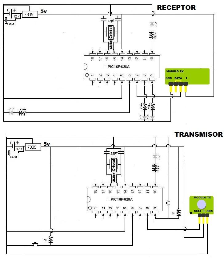 Circuito Emisor Receptor : Circuito transmisor y receptor de voz programación